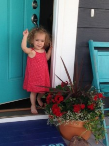 Blue door, little girl