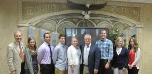 From left: DMACC President, Rob Denson, Madeline Wignall, Issac Dahlman, Collin Urquhart, Dennis Albaugh, Jon Lindaman, Cheryl Cardin and Jenny Montange