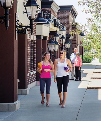 Walking to yoga in Plaza Shoppes